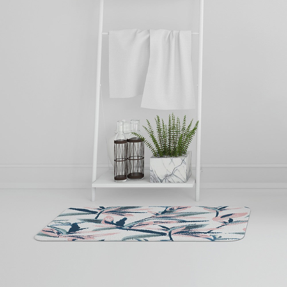 New Product Winter Pink & Blue Flowers (Bath Mat)  - Andrew Lee Home and Living