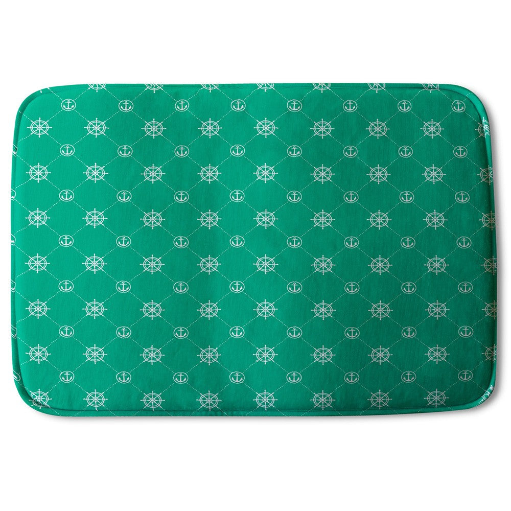 New Product Nautical Elements on Green (Bath Mat)  - Andrew Lee Home and Living