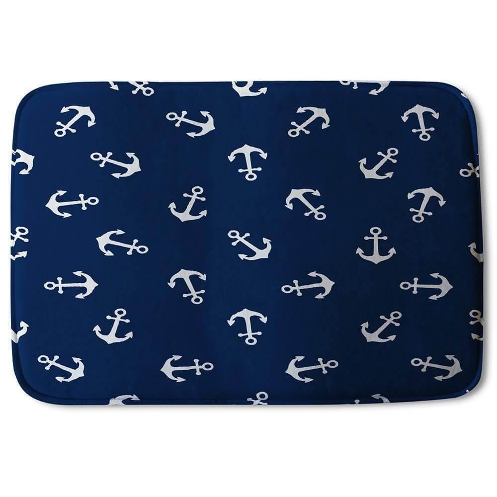 New Product Anchors on Navy Background (Bath Mat)  - Andrew Lee Home and Living