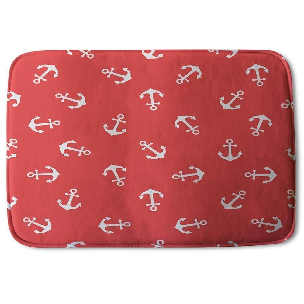 New Product Anchors on Red Background (Bath Mat)  - Andrew Lee Home and Living