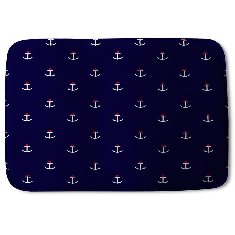 New Product White & Red Anchors on Navy (Bath Mat)  - Andrew Lee Home and Living