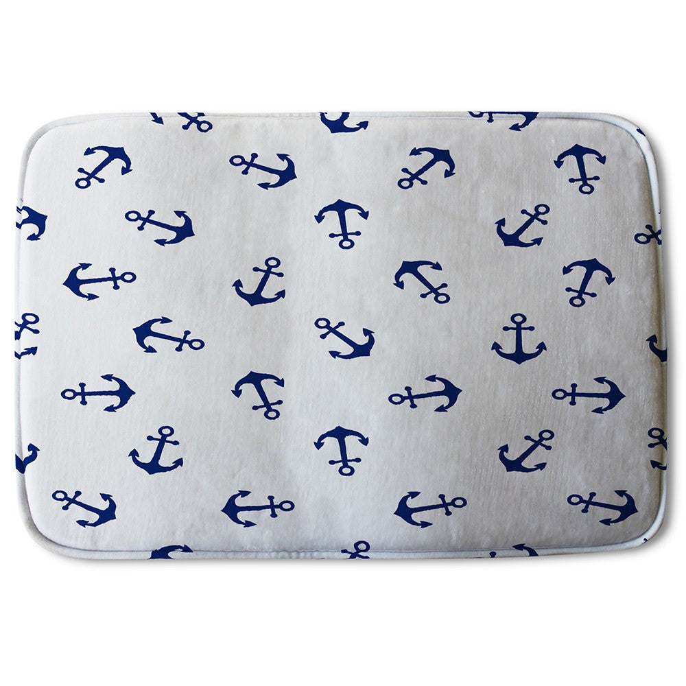 New Product Navy Anchors on White (Bath Mat)  - Andrew Lee Home and Living