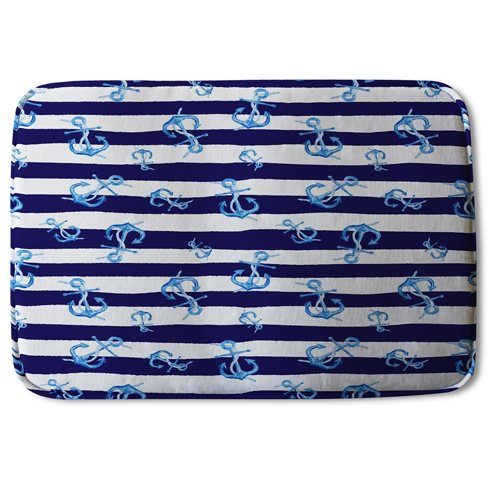 New Product Blue Anchors on Navy Striped Background (Bath Mat)  - Andrew Lee Home and Living
