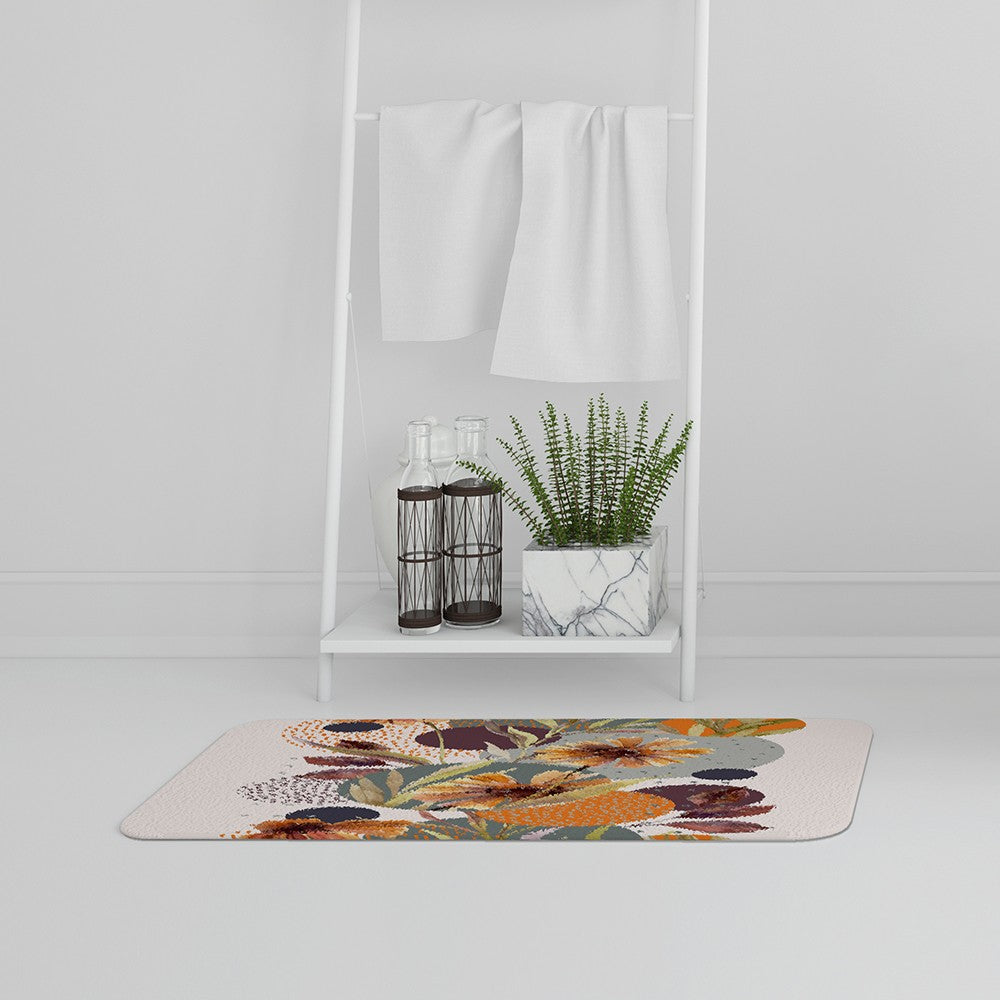 New Product Orange Geometric With Flowers (Bath Mat)  - Andrew Lee Home and Living