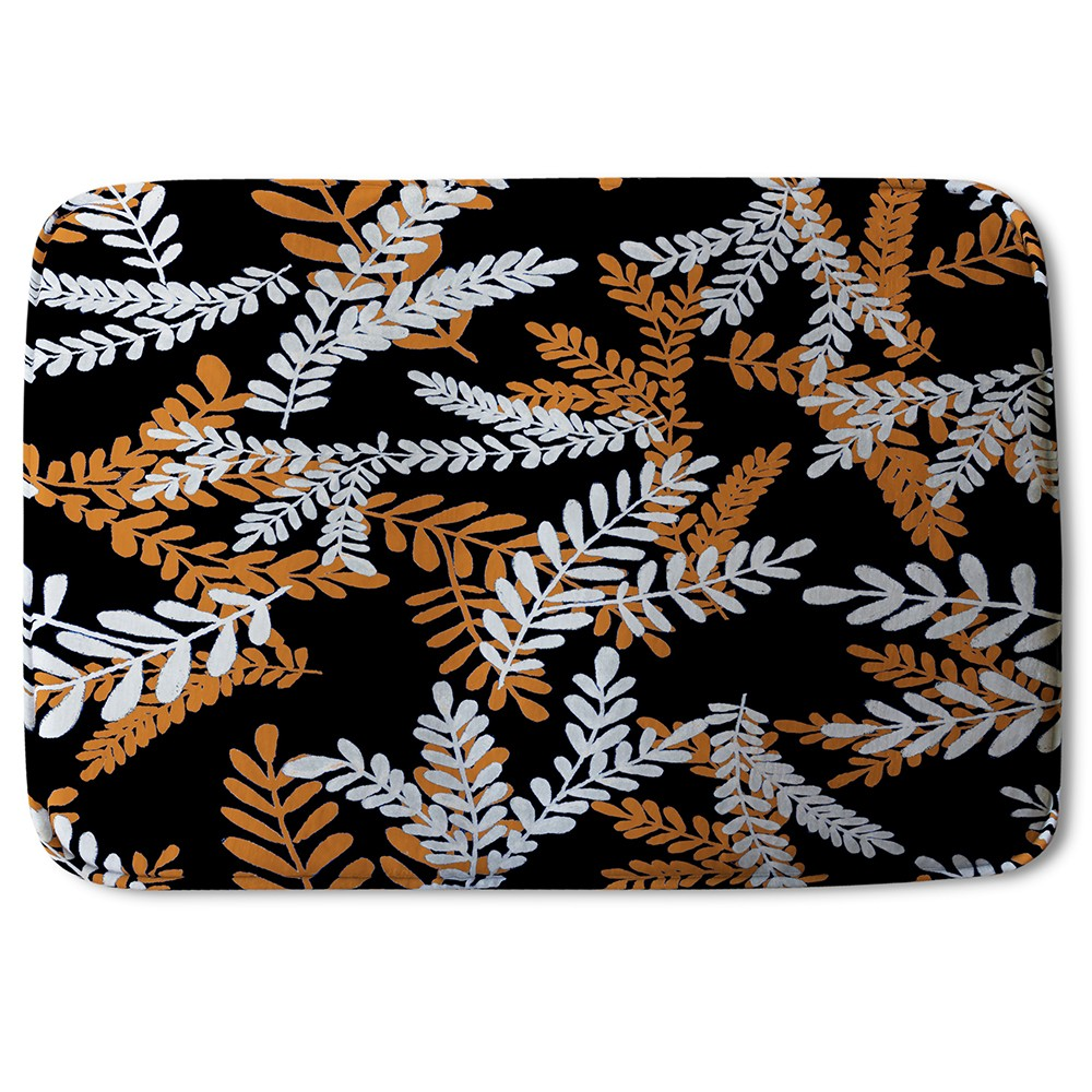 New Product White & Orange Olive Leaves (Bath Mat)  - Andrew Lee Home and Living