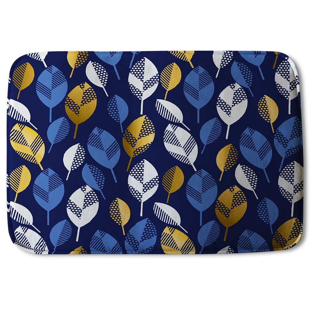New Product White, Blue & Gold Leaves on Navy Background (Bath Mat)  - Andrew Lee Home and Living