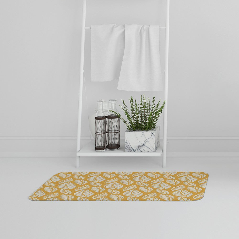 New Product White Leaf Pattern on Orange (Bath Mat)  - Andrew Lee Home and Living