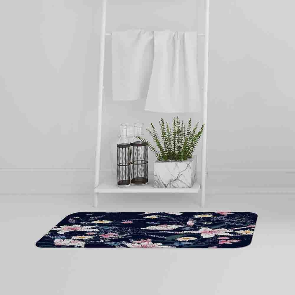 New Product Tropical White & Pink Flowers (Bath Mat)  - Andrew Lee Home and Living