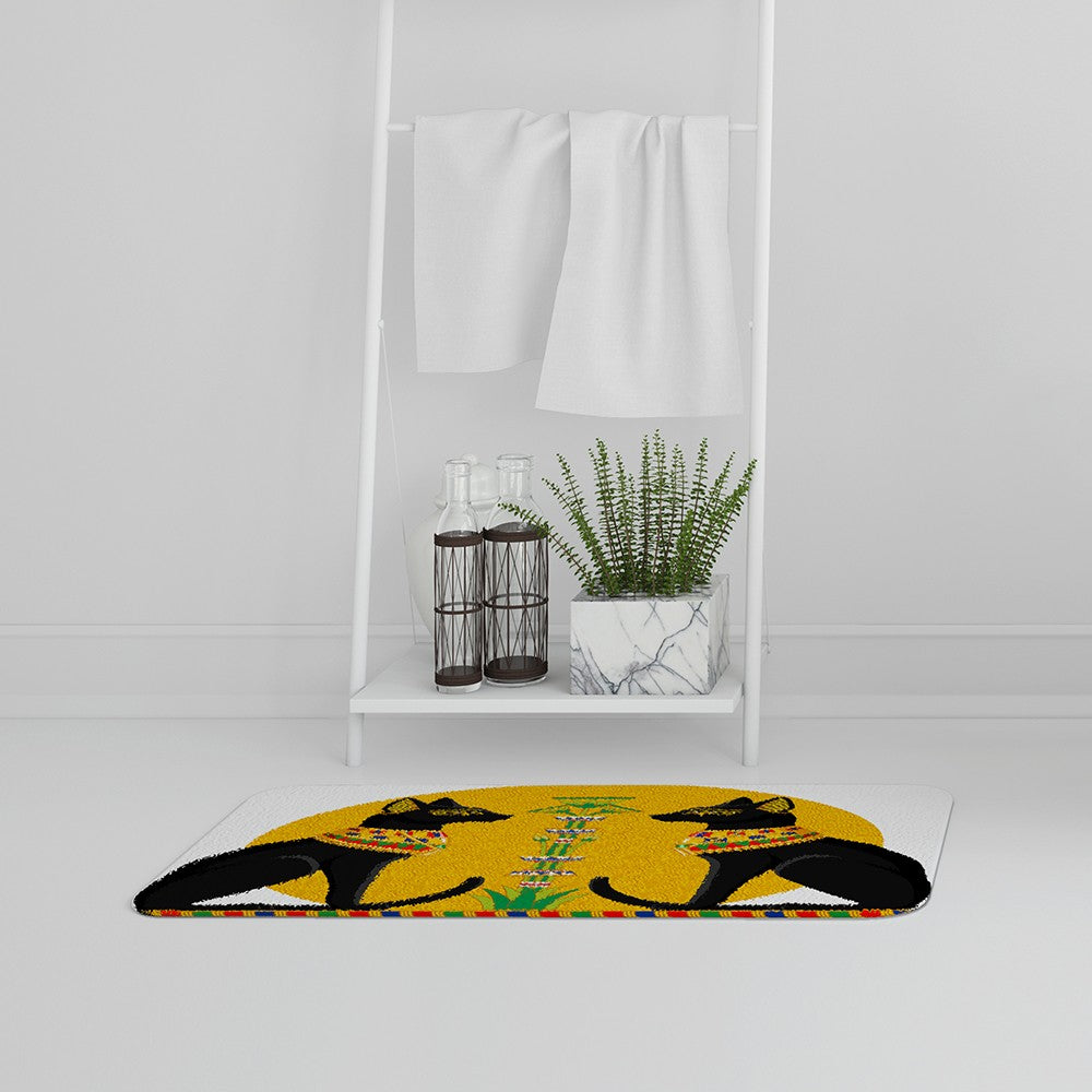 New Product Illustration of Black Egyptian Cats with Papyrus (Bath Mat)  - Andrew Lee Home and Living