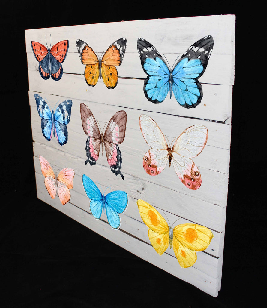 Reclaimed Wood Print - New Product Butterfly's (Reclaimed white wood)  - Andrew Lee Home and Living Homeware