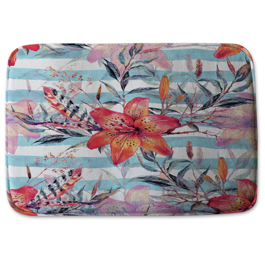 New Product Bouquet of watercolor tiger lilies (Bathmat)  - Andrew Lee Home and Living
