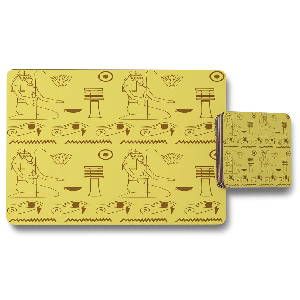 New Product Pattern of Egyptian hieroglyphics (Placemat & Coaster Set)  - Andrew Lee Home and Living