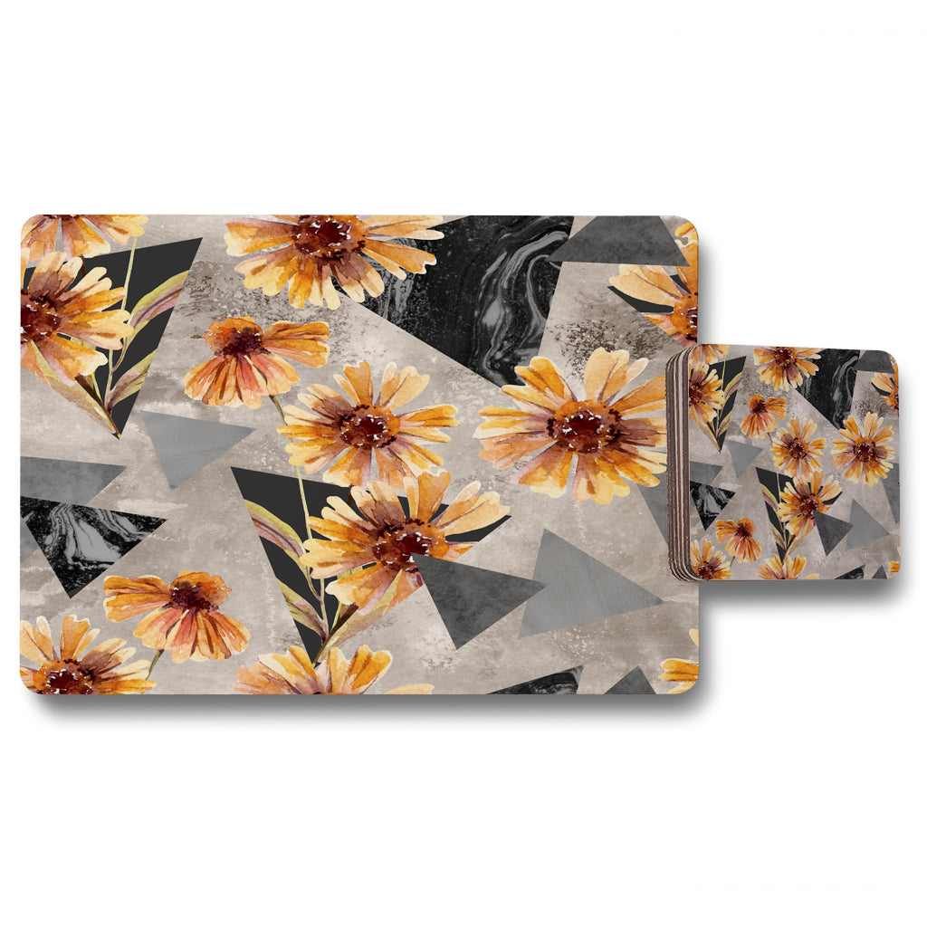 New Product Geometric floral shapes (Placemat & Coaster Set)  - Andrew Lee Home and Living