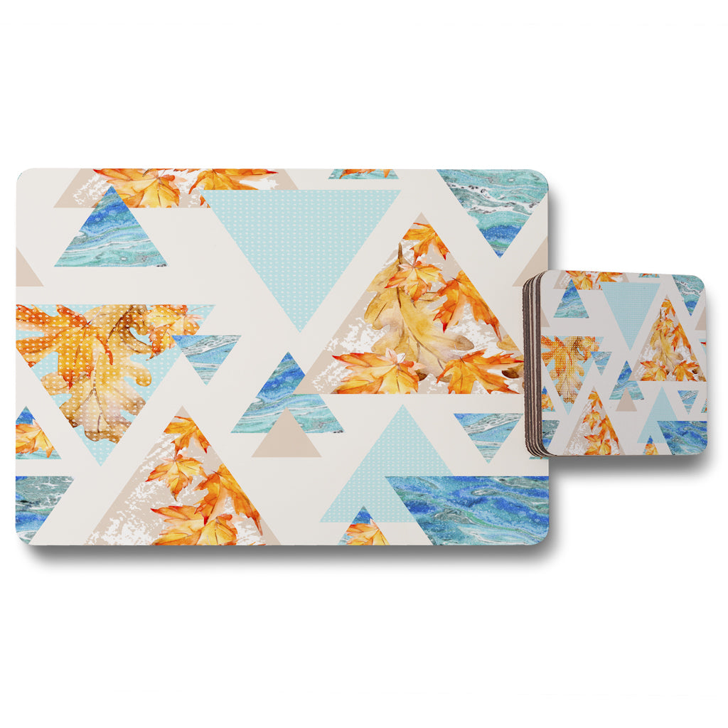 New Product Triangles with maple, oak leaves, marble (Placemat & Coaster Set)  - Andrew Lee Home and Living