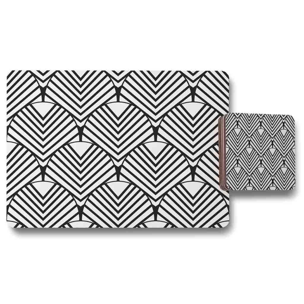 New Product Black Geometric Decoration (Placemat & Coaster Set)  - Andrew Lee Home and Living