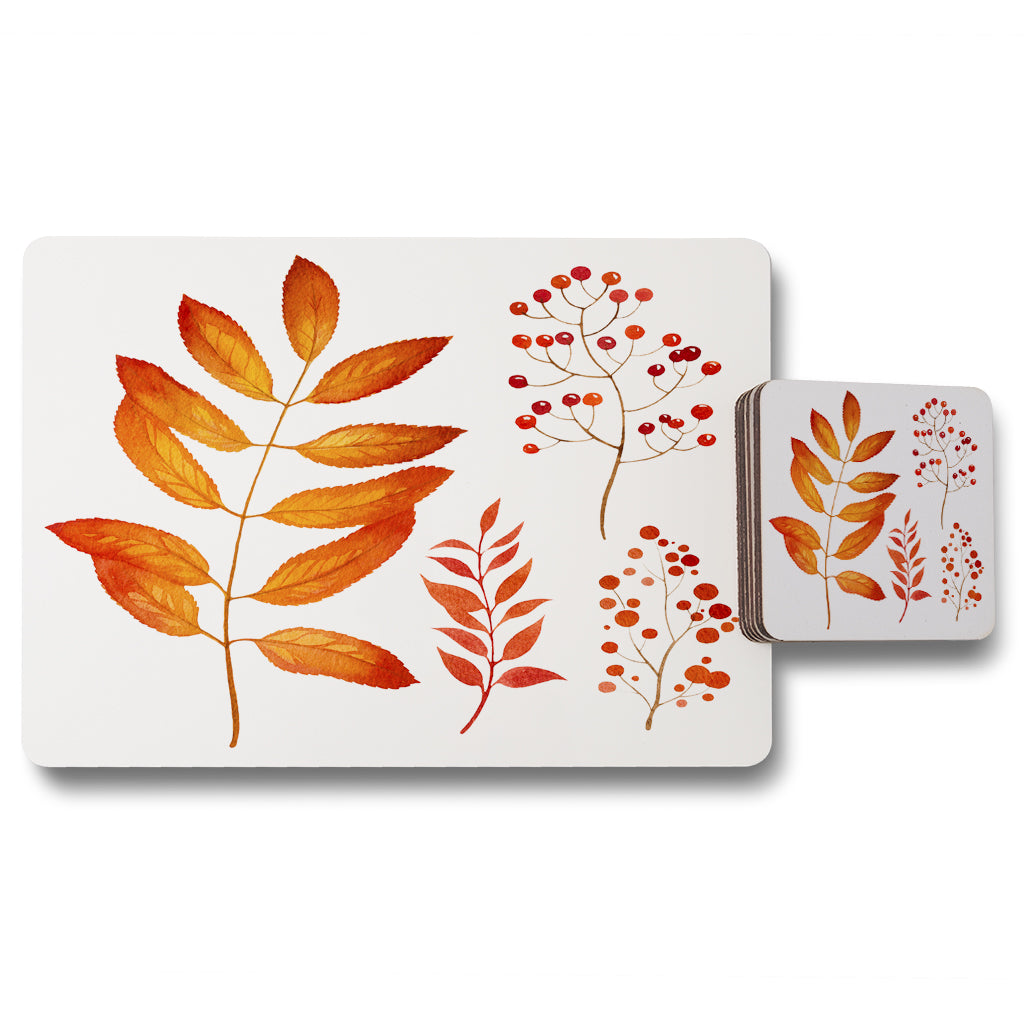 New Product Orange Autumn Leaves (Placemat & Coaster Set)  - Andrew Lee Home and Living
