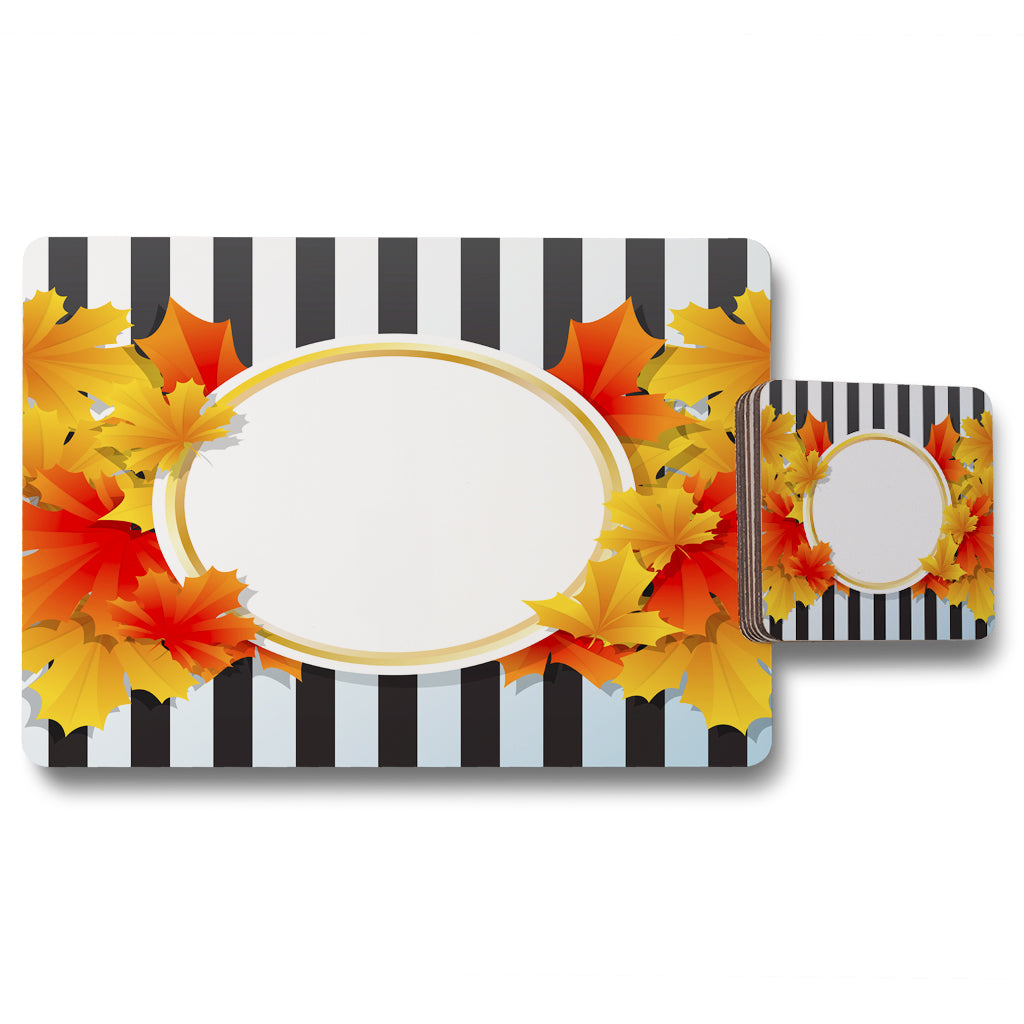 New Product Orange & Red Autumn Leaves on Black Stripes (Placemat & Coaster Set)  - Andrew Lee Home and Living