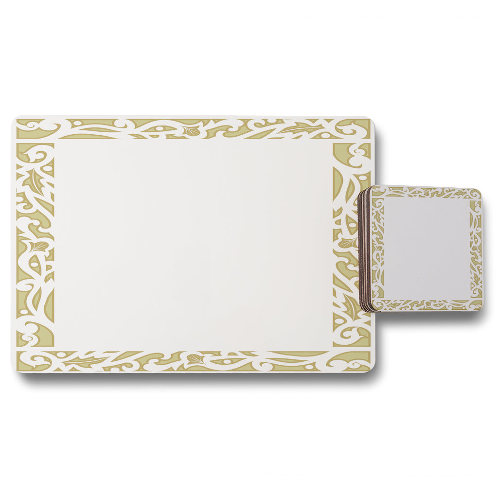 New Product Egyptian Hieroglyphs Golden Border (Placemat & Coaster Set)  - Andrew Lee Home and Living