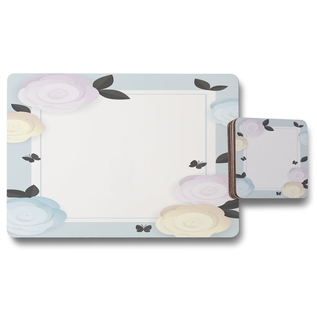 New Product Pastel Colour Flowers (Placemat & Coaster Set)  - Andrew Lee Home and Living