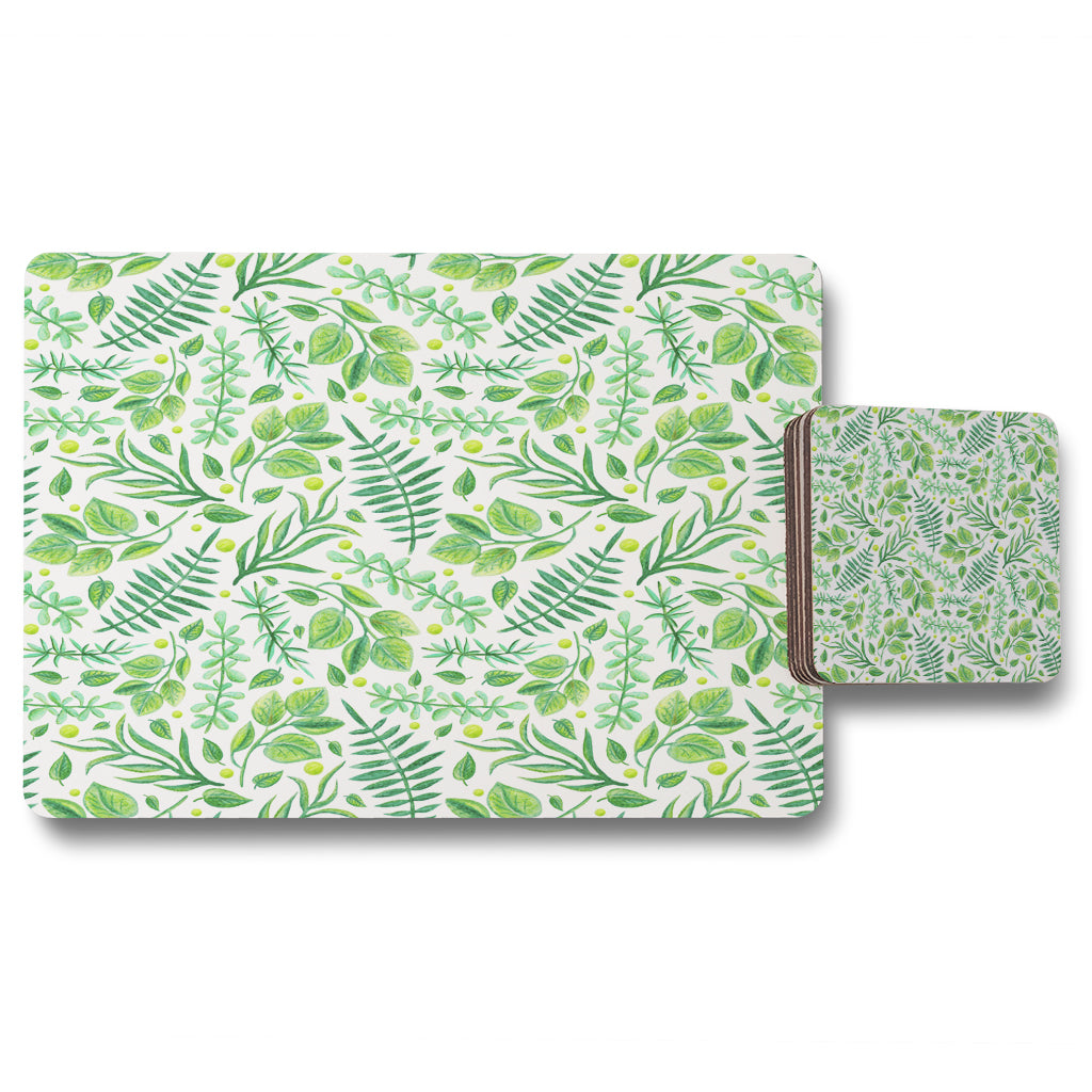 New Product Mixed Green Leaves (Placemat & Coaster Set)  - Andrew Lee Home and Living