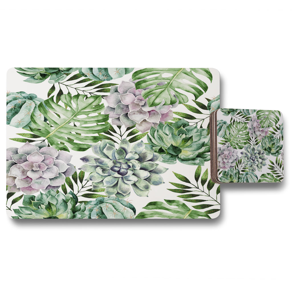 New Product Watercolour Botanical Leaves (Placemat & Coaster Set)  - Andrew Lee Home and Living