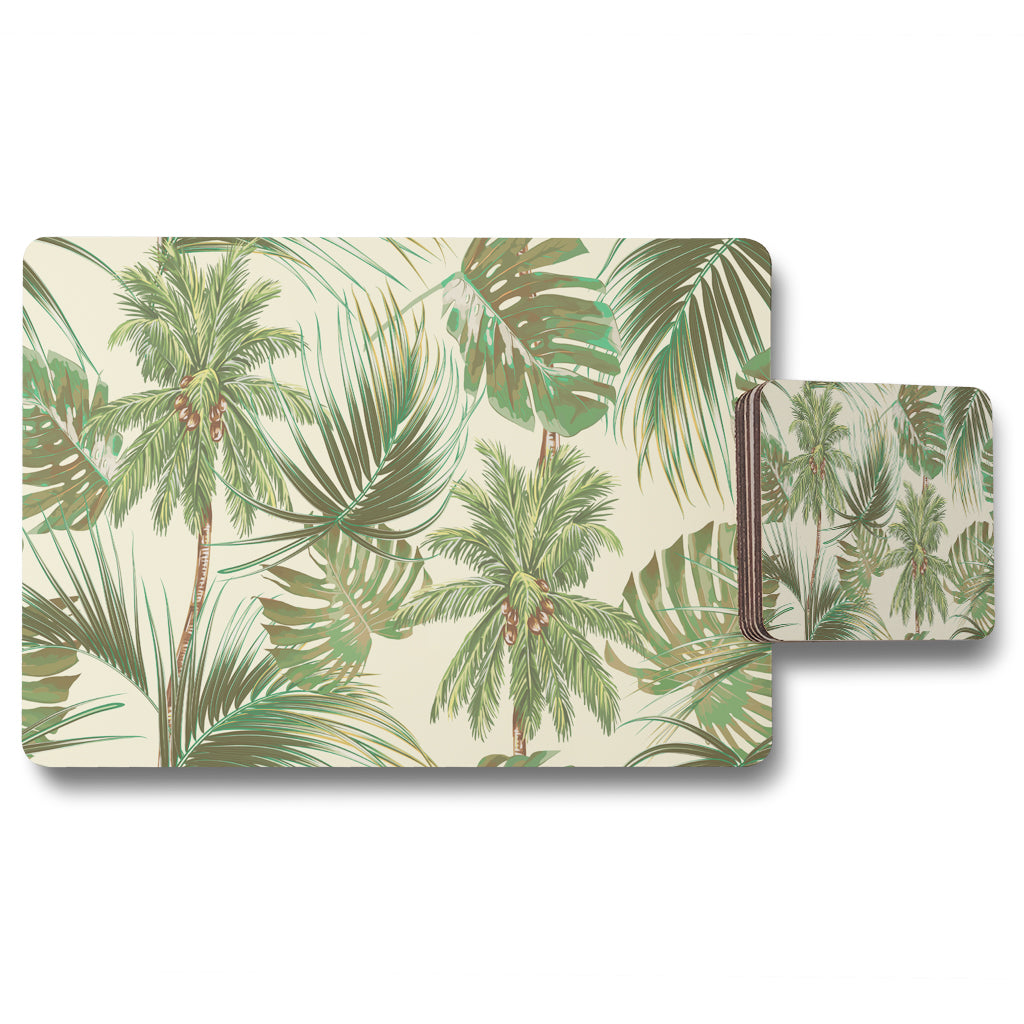 New Product Tropical Leaves on Yellow (Placemat & Coaster Set)  - Andrew Lee Home and Living