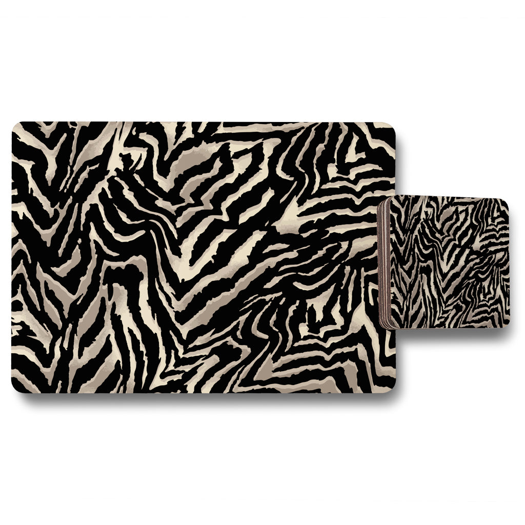 New Product Gold Zebra Print (Placemat & Coaster Set)  - Andrew Lee Home and Living