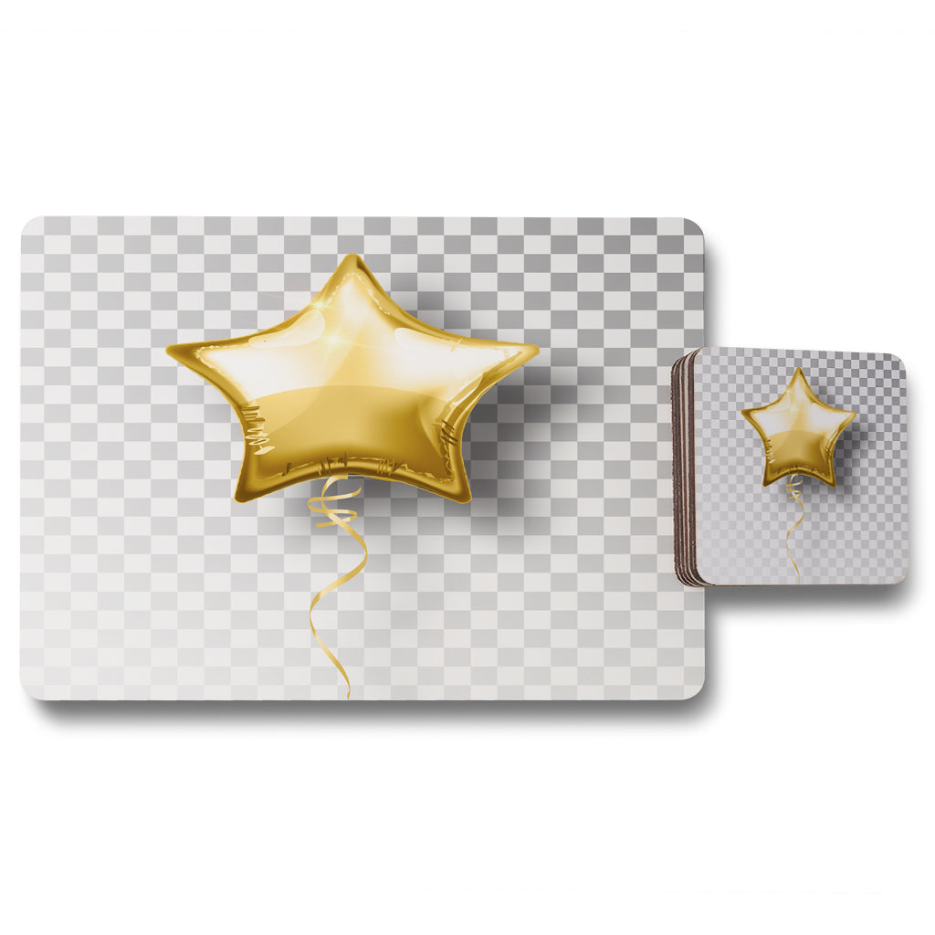 New Product Golden Star Balloon (Placemat & Coaster Set)  - Andrew Lee Home and Living