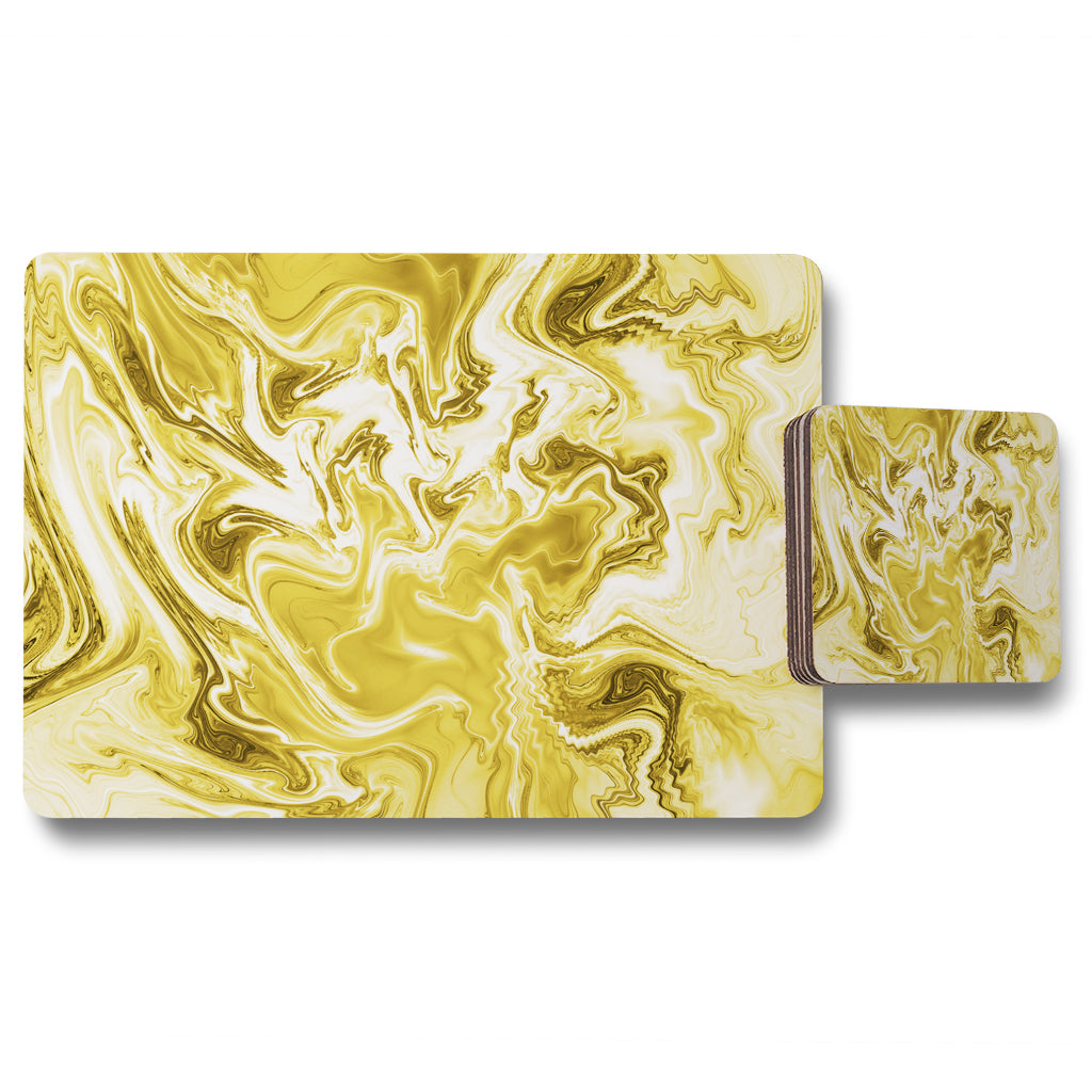 New Product Golden Swirled Marble (Placemat & Coaster Set)  - Andrew Lee Home and Living