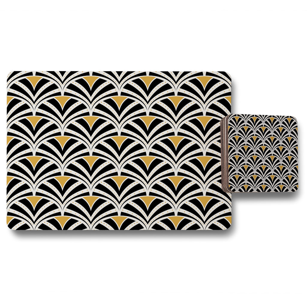 New Product Black & Gold Shells Geometric (Placemat & Coaster Set)  - Andrew Lee Home and Living