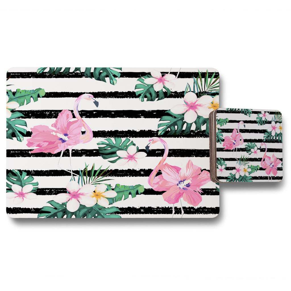 New Product Floral Flamingos (Placemat & Coaster Set)  - Andrew Lee Home and Living