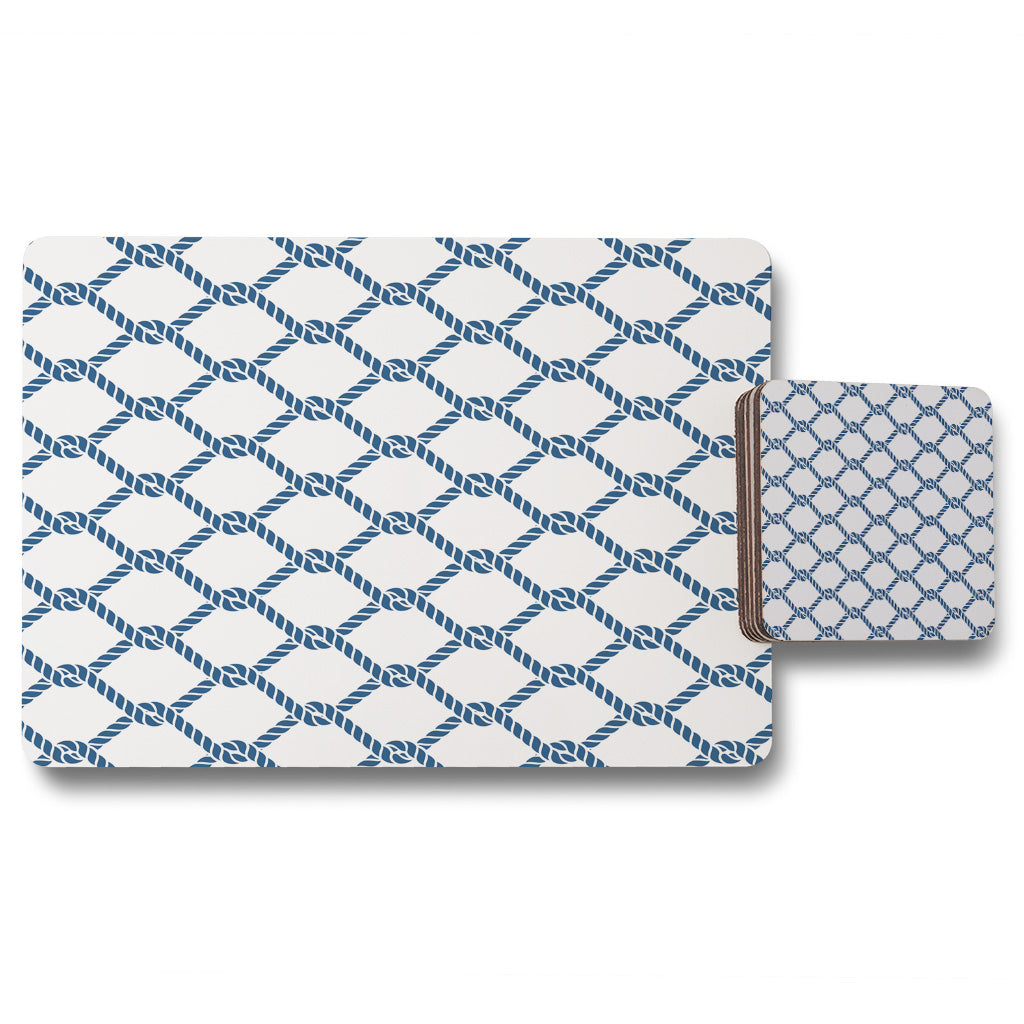 New Product Navy Chainlink Rope (Placemat & Coaster Set)  - Andrew Lee Home and Living