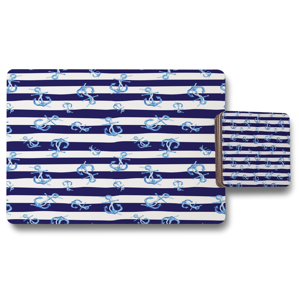 New Product Blue Anchors on Navy Striped Background (Placemat & Coaster Set)  - Andrew Lee Home and Living