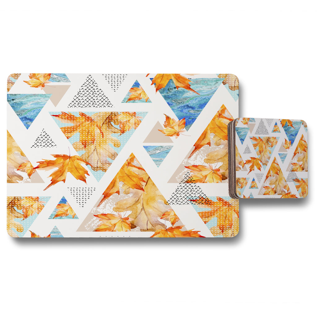 New Product Autumn Geometrics with Maple Leaves (Placemat & Coaster Set)  - Andrew Lee Home and Living