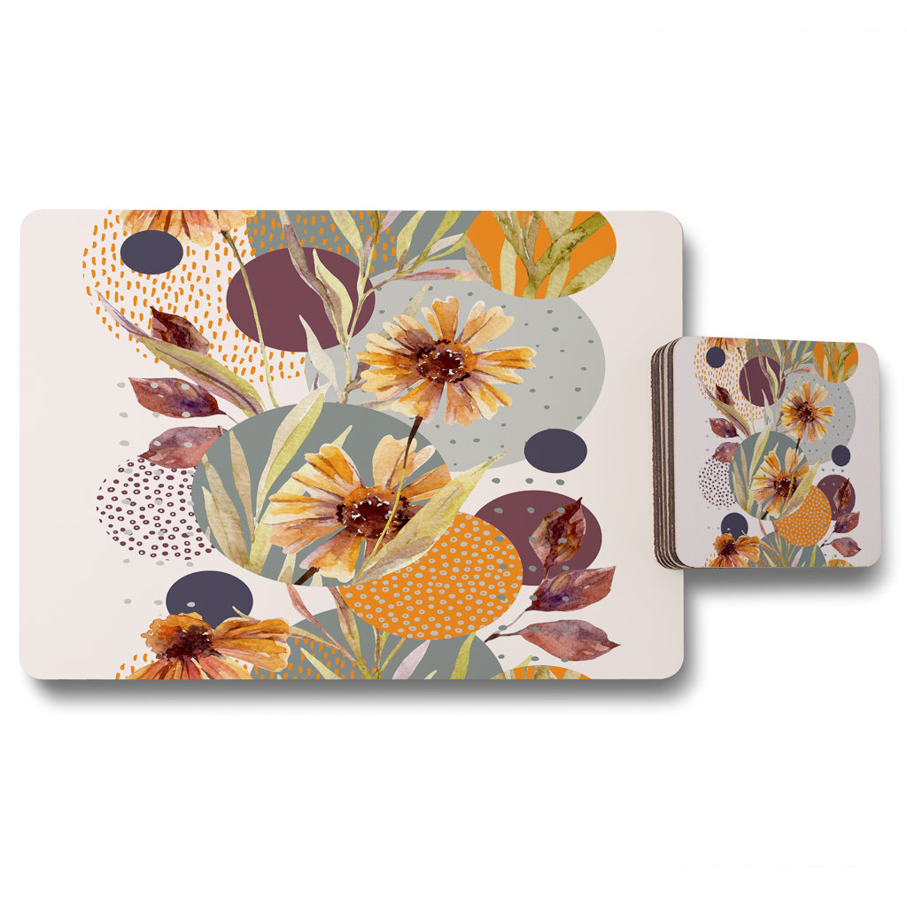 New Product Orange Geometric With Flowers (Placemat & Coaster Set)  - Andrew Lee Home and Living