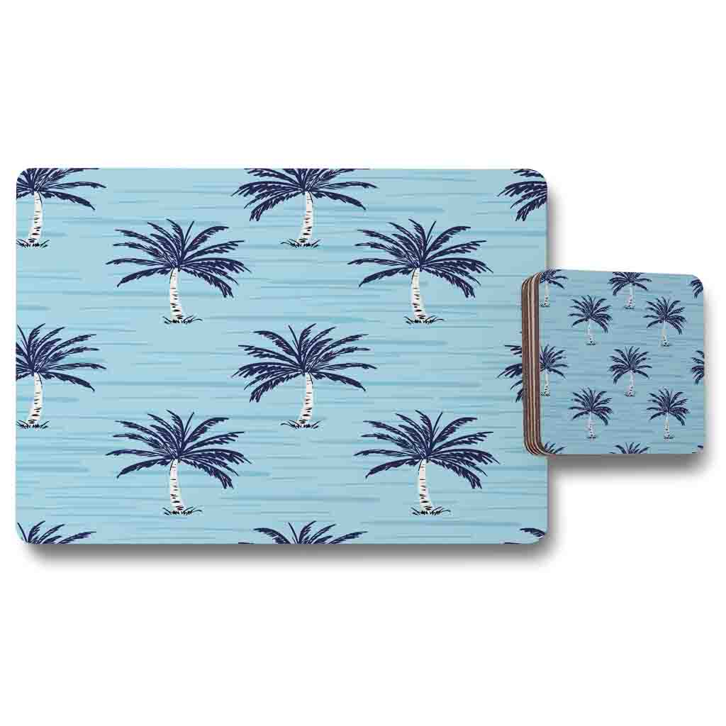 New Product Palm Trees on Blue (Placemat & Coaster Set)  - Andrew Lee Home and Living