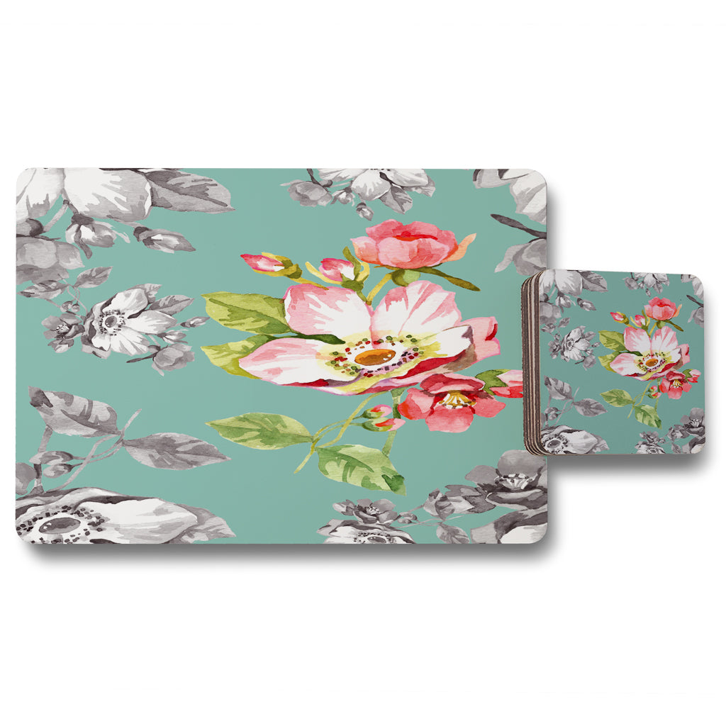 New Product Bright Flower on Green (Placemat & Coaster Set)  - Andrew Lee Home and Living