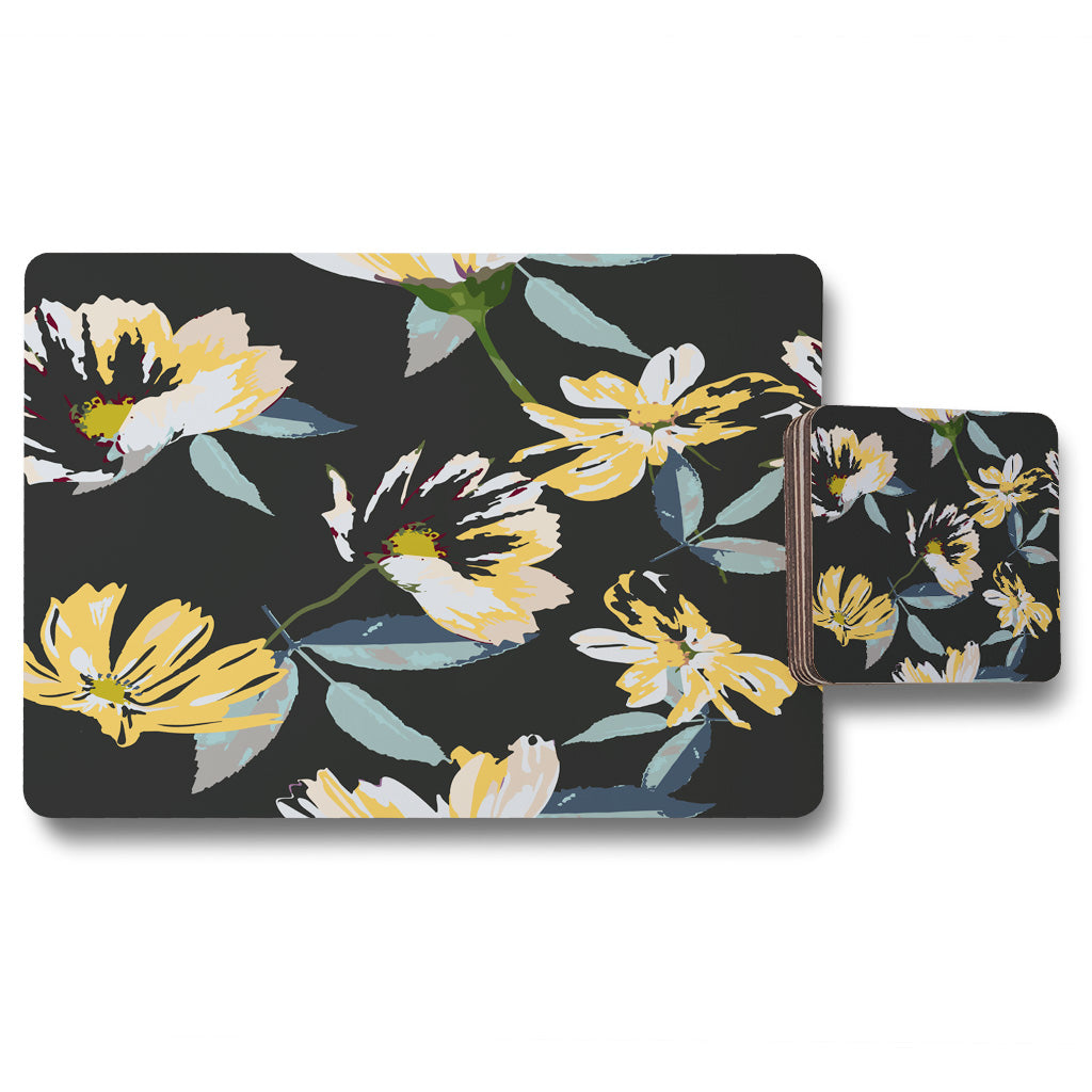 New Product Yellow Flowers on Green (Placemat & Coaster Set)  - Andrew Lee Home and Living