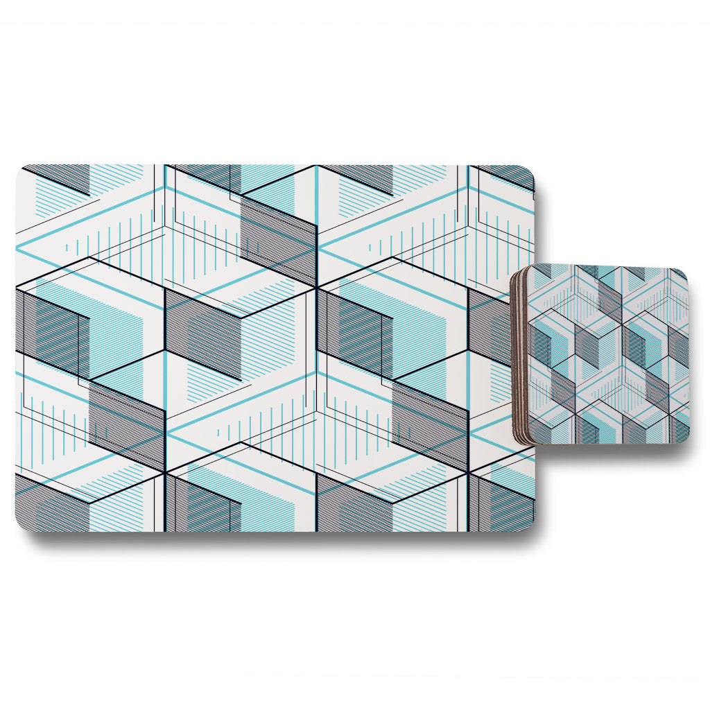 New Product Blue Geometric Hexagons (Placemat & Coaster Set)  - Andrew Lee Home and Living