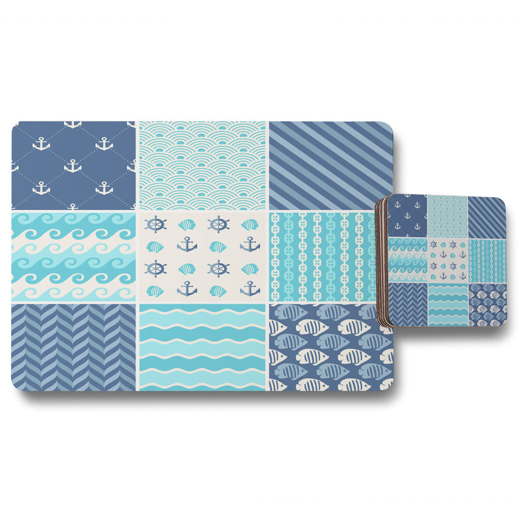 New Product Nautical Tiles (Placemat & Coaster Set)  - Andrew Lee Home and Living