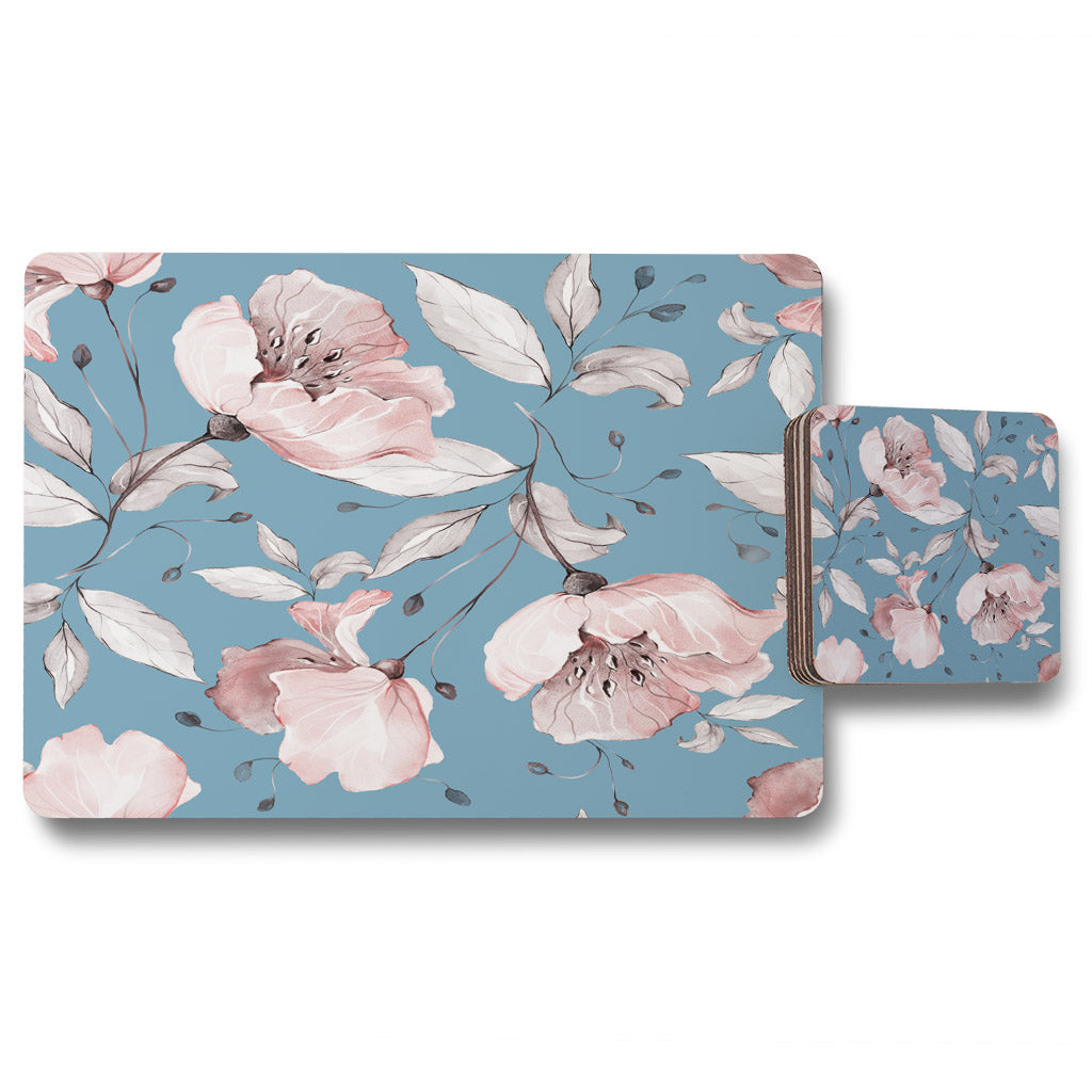 New Product Pink Flowers on Blue (Placemat & Coaster Set)  - Andrew Lee Home and Living