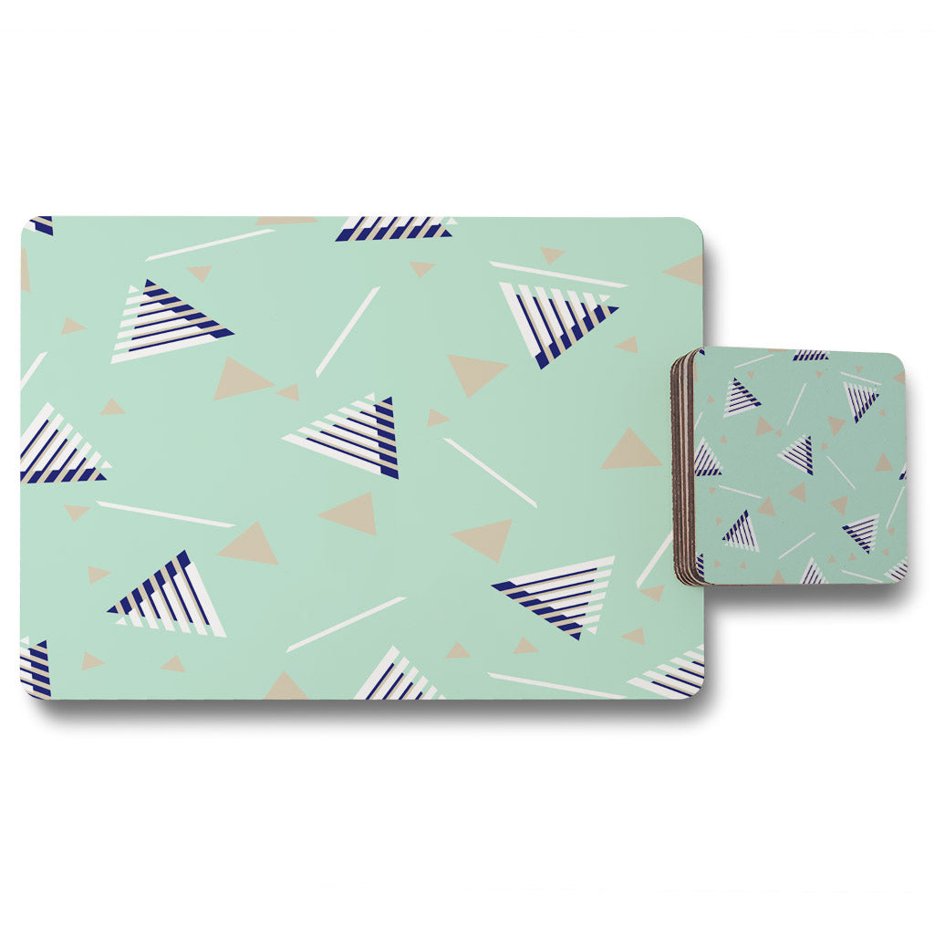 New Product Geometric Triangle Stripes (Placemat & Coaster Set)  - Andrew Lee Home and Living