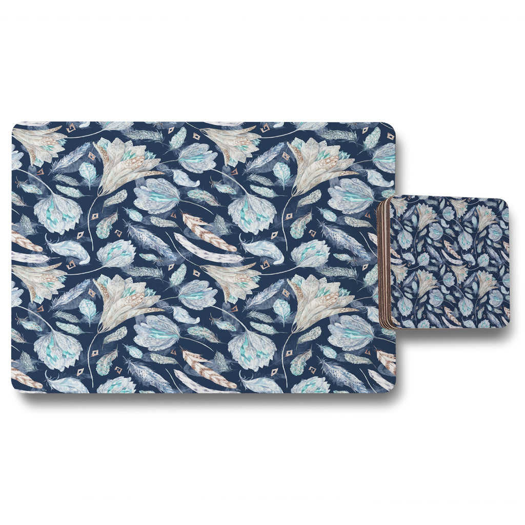 New Product Boho Chic Indigo Pattern (Placemat & Coaster Set)  - Andrew Lee Home and Living