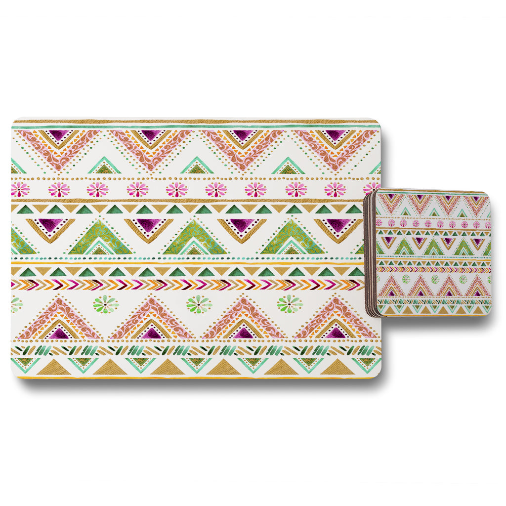 New Product Colorful Striped gold style triangles (Placemat & Coaster Set)  - Andrew Lee Home and Living