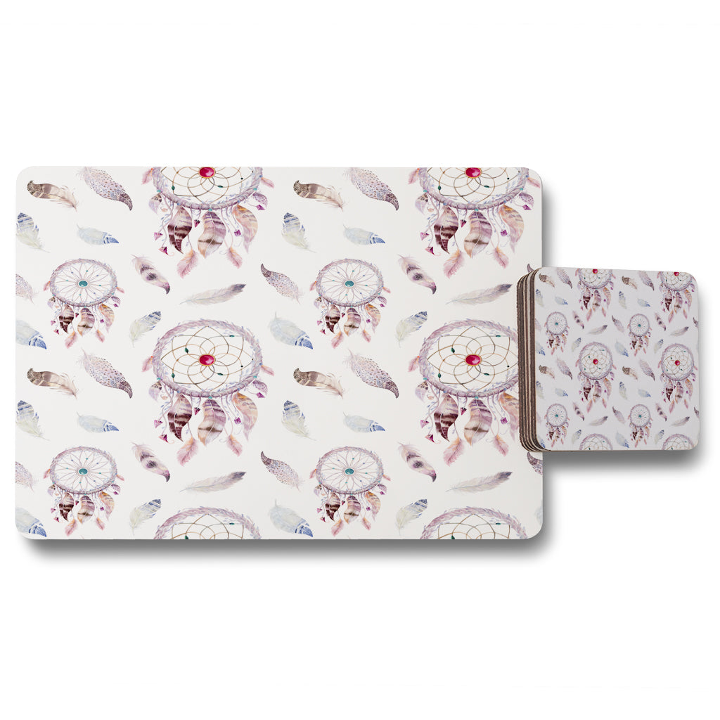 New Product Dreamcatcher and feather pattern (Placemat & Coaster Set)  - Andrew Lee Home and Living