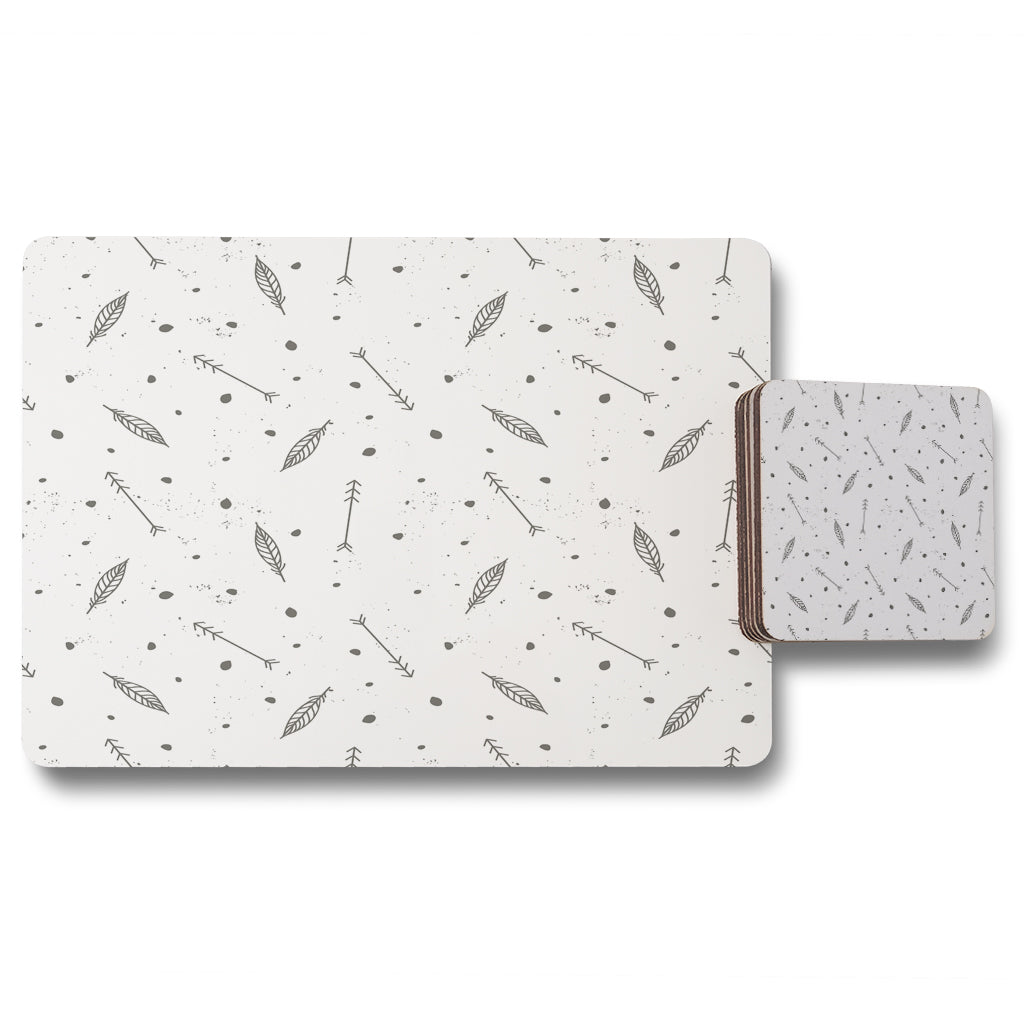 New Product feathers and arrows in boho style (Placemat & Coaster Set)  - Andrew Lee Home and Living