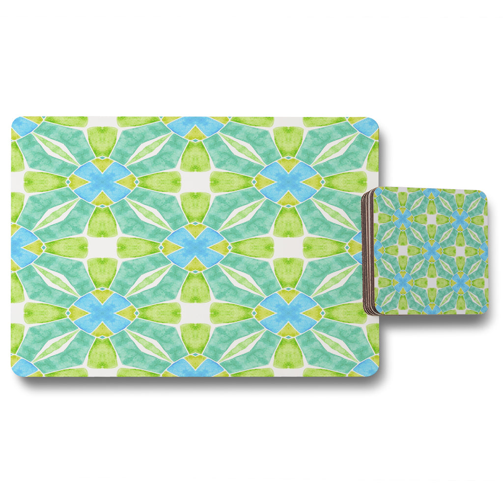 New Product Green optimal boho chic (Placemat & Coaster Set)  - Andrew Lee Home and Living