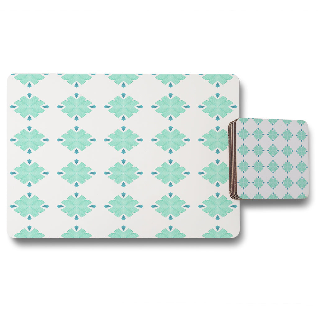 New Product Green uncommon boho chic summer design (Placemat & Coaster Set)  - Andrew Lee Home and Living