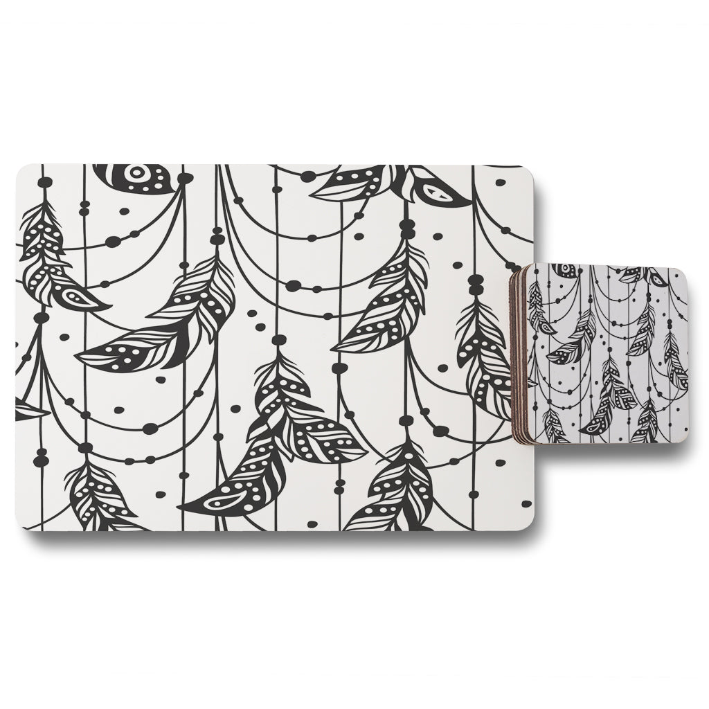 New Product Hand drawn Bohemian chic style (Placemat & Coaster Set)  - Andrew Lee Home and Living