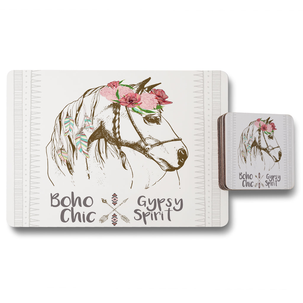 New Product horse with flower Chic (Placemat & Coaster Set)  - Andrew Lee Home and Living